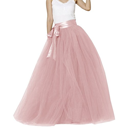 EllieHouse Womens Long Tutu Party Evening Tulle Skirt Dusty Pink Size M PC05