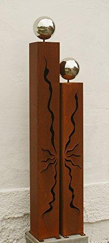 Gartendekoshop24 Rostsäulen 125cm und 100cm mit Edelstahlkugeln
