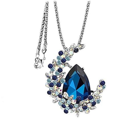 Collar con colgante de media luna, circonita cúbica con diamantes de imitación, cadena larga para mujer y madre