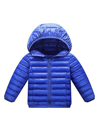 Giacche Piumino con Cappuccio Classico Ultra Leggero del Cappotto Parka Zipper Invernale per Unisex Bambine E Bambino Blu Zaffiro 130