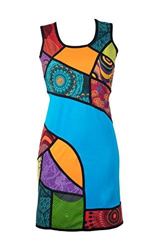 Filosophie Ausgefallenes Sommerkleid mit bunten Ethno Muster in Patchwork Design – Hippie Chic – 100% Baumwolle - Aiko (XXL)