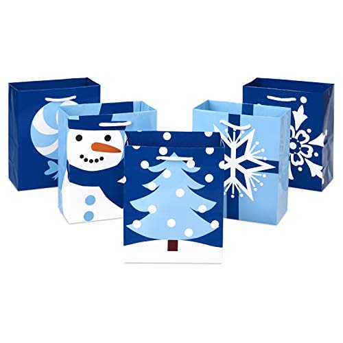 Hallmark 6' Holiday Gift Bags, (Pack of 5; Blue Christmas Icons) Snowflakes, Snowman, Christmas Tree, Small, Blue