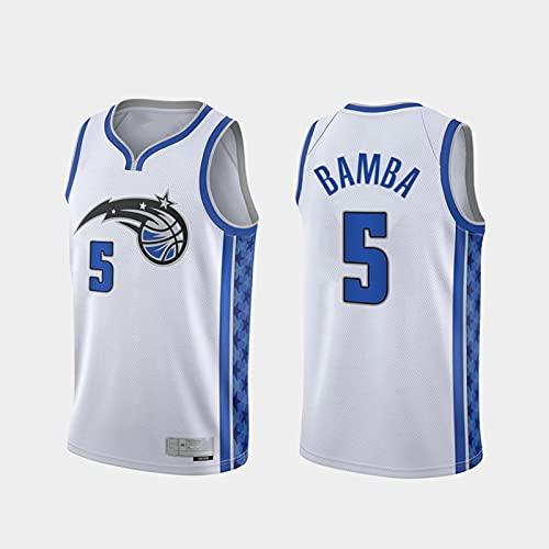 TGSCX Jerseys de Baloncesto para Hombre NBA Orlando Magic 5# Bamba Classic Jersey Unisex Chalecos Casuales Tops Deportivos Camisetas sin Mangas,L