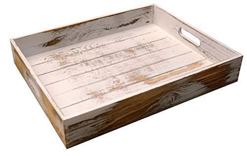 khevga Deko-Tablett Servier-Tablett Holz Vintage weiß Shabby chic groß