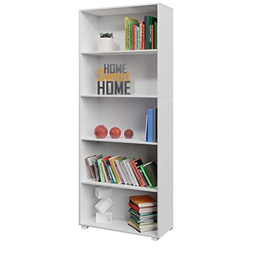 Deuba Bücherregal Standregal Vela 190 x 60 x 31 cm 5 Fächer Weiß Büroregal Ordner Bücher Regal Holz - weitere Auswahl