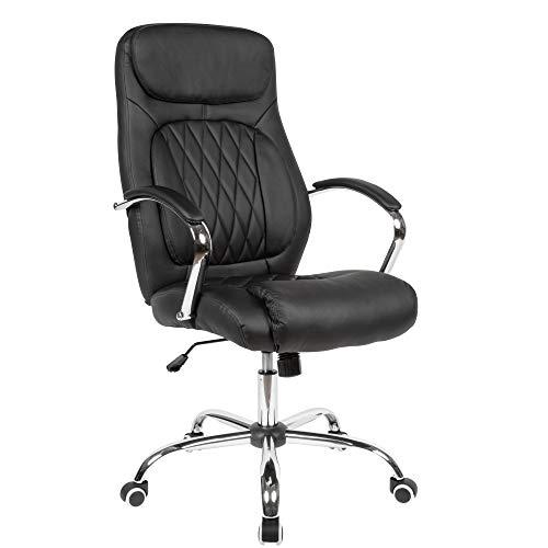 AMSTYLE Schreibtischstuhl Bezug Kunstleder Schwarz Bürodrehstuhl bis 120 kg | Design Drehstuhl Höhenverstellbar | Bürosessel mit Armlehnen & niedriger Rückenlehne