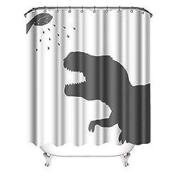 5. VividHome Dinosaur Silhouette Shower Curtain