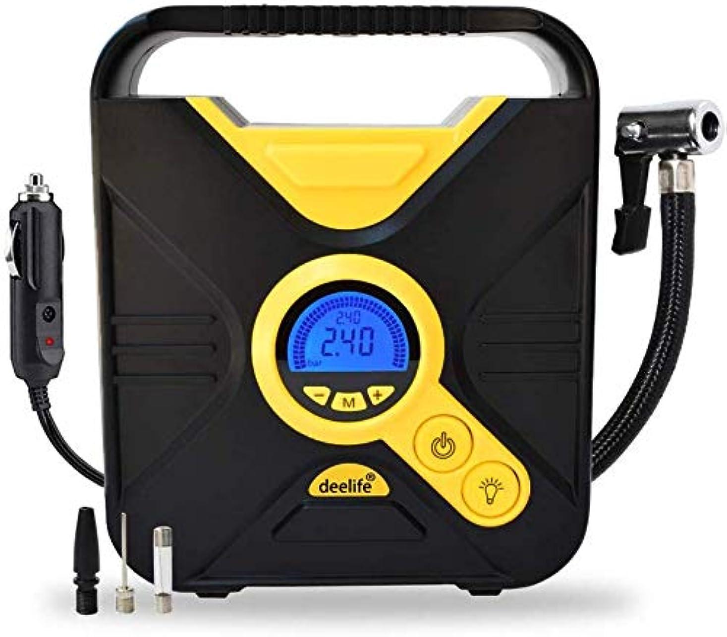 スポークスマン樹皮テープLcdデジタル表示装置が付いている携帯用空気圧縮機ポンプデジタルタイヤのインフレーター12vおよび車のオートバイの自転車およびスポーツ用品に適した導かれたライト