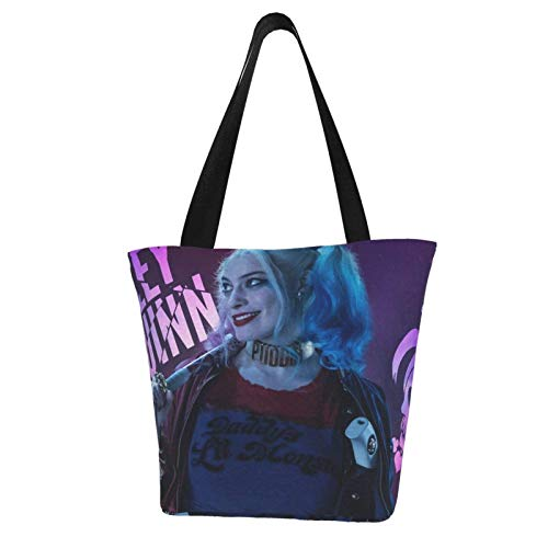 Harley Quinn Women Canvas Shoulder Bag,Casual Handbag Shopping Bag Travel Beach Tote Bag for Ladies,Shoulder Bags,Durable Reusable Grocery Bag,Work Busin School