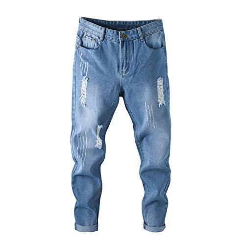 Aiserkly Pantalones Vaqueros para Hombre, Ajustados, Vaqueros, Azules, Largos, para Hombre, elásticos, para Ocio, para Invierno Azul 32