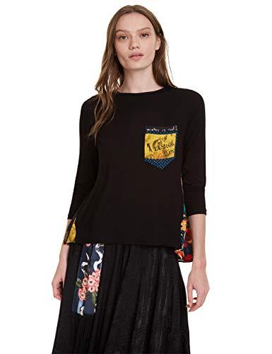 Desigual T-Shirt Lindsey Camiseta, Negro (Negro 2000), L para Mujer