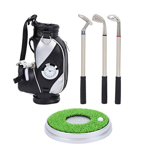 VGEBY Juego de bolígrafos de Golf, Regalo de Golf, Mini bolígrafos de Golf de Escritorio con Soporte para Bolsa de Golf, papelería, decoración, Soporte para bolígrafo con Reloj, Estuche (Negro)