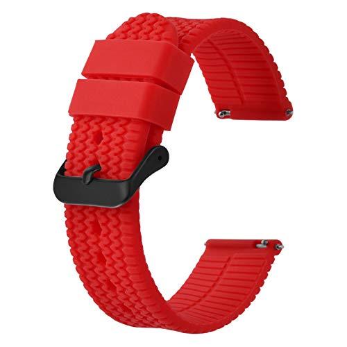 BISONSTRAP Correa de Reloj de Silicona con Liberación Rápida,22mm Banda de Reloj de Repuesto de Goma, Rojo