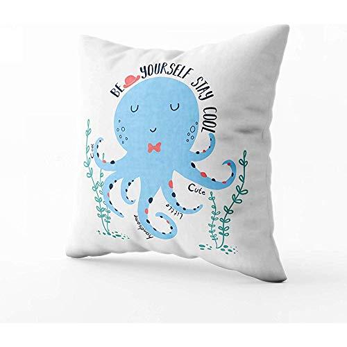 Mijn kussenhoes, vierkante kussenhoezen met rits bank bank tekening Octopus Illustratiprint Tshirt ontwerp gooien kussen