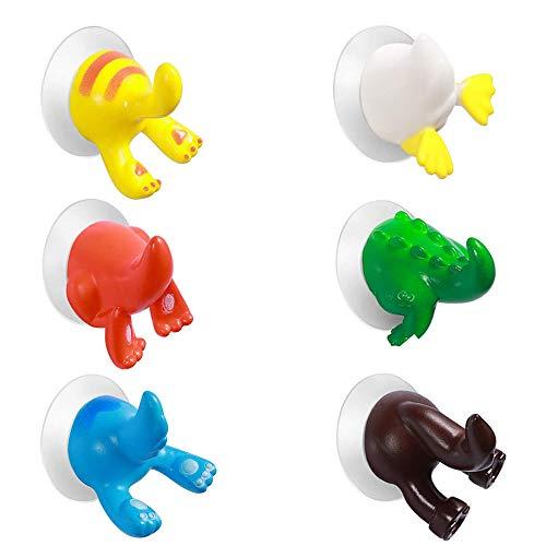 MOPOIN Saugnapf Haken, Handtuchhaken Saugnapf Cartoon Tiere Bad Saugnapf Sucker Kleiderbügel Für Küche und Bad 6 Stücke (Zufällige Farbe)