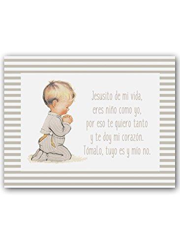 CUADRIMAN   Cuadro niño rezando con Oración Jesusito. Greca de rayas gris. Tamaño 25 x 32cm. Impreso en lienzo.
