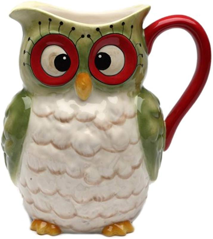 Cosmos Gifts 10902 Owl Design Holiday Ceramic Pitcher 8 Inch