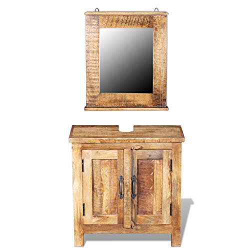 Festnight 24 Inches Bathroom Vanity Set Solid Mango Wood Cabinet with Square Mirror Set