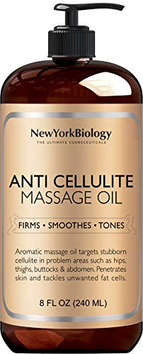 New York Biology Anti Cellulite Treatment Massage Oil - Natural Ingredients Help Firm, Tighten Skin Tone - Treat Unwanted Fat Tissue, Cellulite Oil More Effective Than Cellulite Removal Cream 8 oz