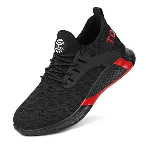 tqgold® Sicherheitsschuhe Herren Damen Arbeitsschuhe mit Stahlkappen S3 Arbeitsschuhe Leicht Atmungsaktive Sportlich Sneaker Schutzschuhe(8192Schwarz, 45)