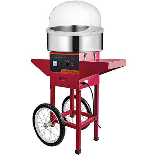 VBENLEM Commercial Cotton Candy Machine with Bubble Cover Shield and Cart Electric Cotton Candy Machine 1030W Candy Floss Maker Red Cotton Candy Maker Stainless Steel for Various Parties