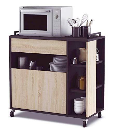 Abitti Mueble de Cocina Auxiliar para microondas en Color Negro y Roble...