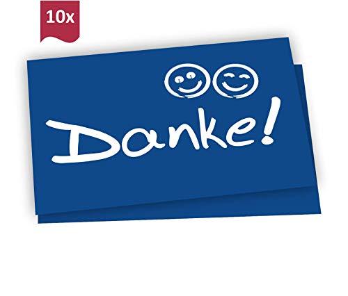 10 Dankeskarten + Umschläge: Danke Postkarte mit Smiley - Danksagungskarte Hochzeit, Geburt, Mitarbeiter, Baby, Taufe, Geburtstag, Party, Jubiläum, Kommunion, Konfirmation, Kollegen, Ruhestand