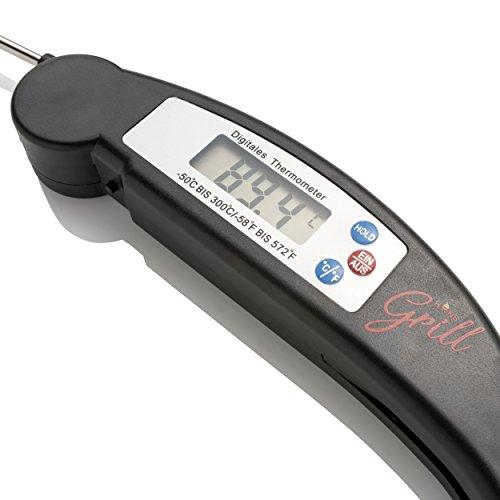 Hans Grill Grillthermometer BBQ Thermometer Digital Kochthermometer Kabelloses Sofortiges Zusammenklappbarer Sonde für Grillfleisch Hoch Präzise, Küchenthermometer Deutschen Display Grill