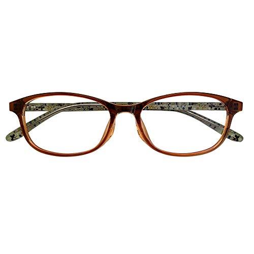 ブルーライトカット 中近両用メガネ TRフローレット AL-1133 (ライトブラウン) (レディースセット) 全額返金保証 老眼鏡 (瞳孔間距離:57mm〜59mm, 近くを見る度数:+3.0)