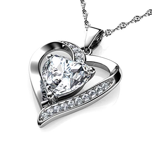 DEPHINI - White Heart Necklace - 925 Sterling Silver - Branded A+ Cubic Zirconia Crystal Pendant Birthstone - Fine Jewellery Love - 18' Premium Rhodium Plated Silver Chain - Gifts for Women
