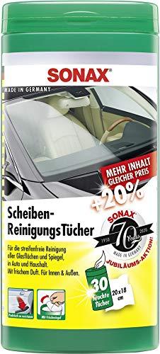 SONAX ScheibenReinigungsTücher Box (30 Stück) zur schnellen, einfachen und streifenfreien Reinigung von allen Glas- und Spiegelflächen | Art-Nr. 04120000