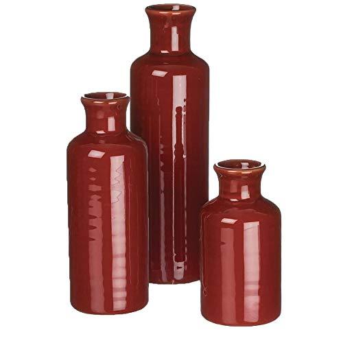 Sullivans Small Ceramic Vase Set, Rustic Home Décor, Set of 3 Vases, Red (CM2407)