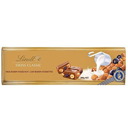 Lindt Gama Oro Tableta de Chocolate con Leche, con Avellanas y Pasas, 300g