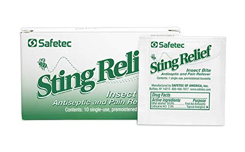 Safetec Sting Relief Wipe (10ct. Box) 9 Boxes (90 Count)