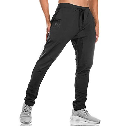 Gwings Mens Jogger Sport Pants, Casual Zipper Gym Workout Sweatpants Pockets (L, Black)