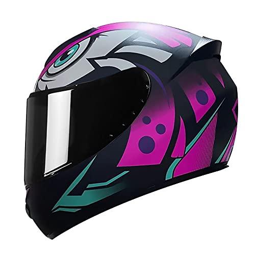 Letetexi Casco Integral de Motocicleta para Adultos con Certificación ECE Cascos de Protección para Moto Respirable Ajustable para Hombres Mujeres Viajes Diarios 55-64CM
