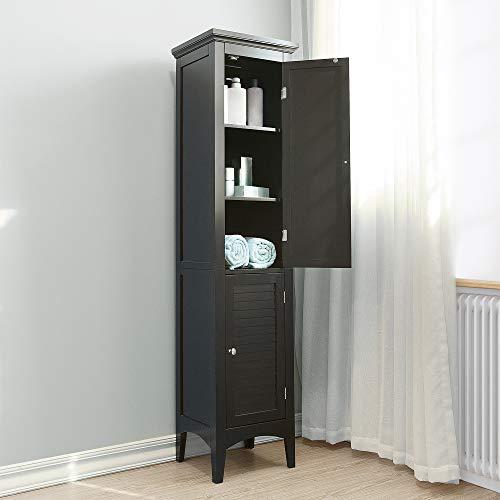 Teamson badkamer bruine houten vrijstaande smalle kast ELG-598