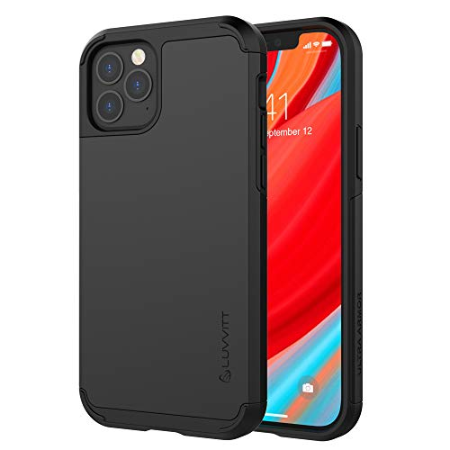 Luvvitt Ultra Armor Case Designed for iPhone 12 and iPhone 12 Pro with Removable Metal Plate for Magnetic Holder (car Phone Mount Cradle is not Included) for Apple iPhone 12/12 Pro 6.1' inch - Black