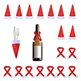 WXJ13 10 Pack Mini Christmas Santa Claus Hat and 10 Pack Mini Christmas Scarf for Christmas Silverware Holders, Candy Covers, Wine Bottle Decorations, Set of 20