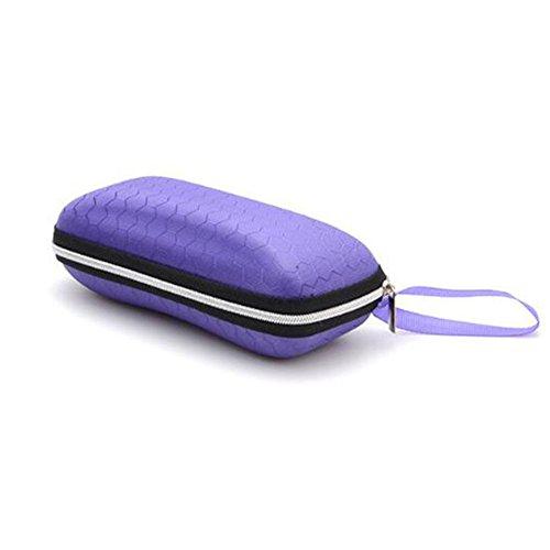 Sanwood Étui à lunettes à glissière à Lunettes de soleil rectangulaires Boîte de protection de voyage dure Purple