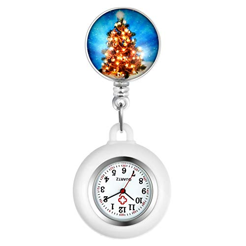 Lancardo Reloj de Bolsillo de Enfermera con Dibujo de Árbol Rojo Navideño Reloj Médico Reloj de Cuarzo con Funda de Silicona Desacoplable Longitud Estirable para Uso Hospital Medico (Árbol C)
