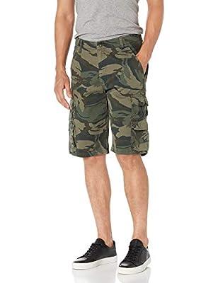 Wrangler Authentics Men's Premium Twill Cargo Short, Forest Green Camo, 36