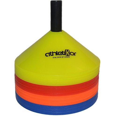 Markierungshütchen Fussball Markierungsteller 40 Set - blau, orange, rot, gelb von athletikor