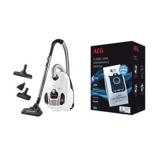 AEG VX7-2-IW-S Staubsauger mit Beutel, weiß & GR201SM s-Bag Staubbeutel Classic Long Performance MegaPack (12 Synthetik Staubsaugerbeutel für dauerhaft hohe Saugleistung, weiß)