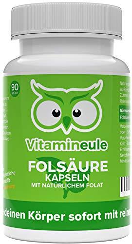Folsäure Kapseln mit 100% natürlichem Folat - 800 µg 5-MTHF - hochdosiert - bei Kinderwunsch & Schwangerschaft - ohne künstliche Zusätze - Qualität aus Deutschland - Vitamin B9 ohne Jod - Vitamineule®
