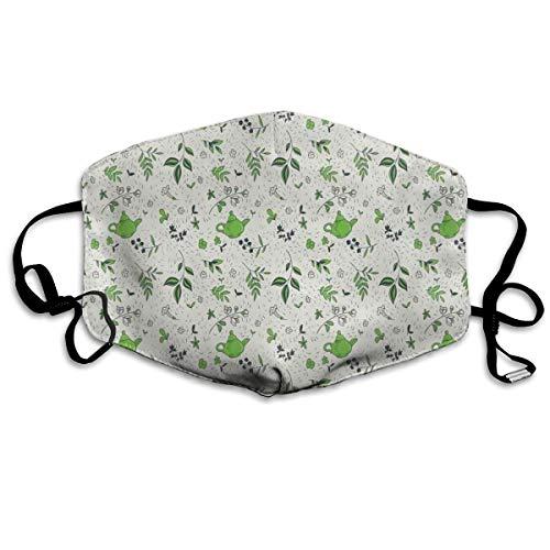 Exotische Kruidenthee Concept Groene Thee En Jasmijn BladerenPrinting Veiligheid Mond Cover voor Volwassen
