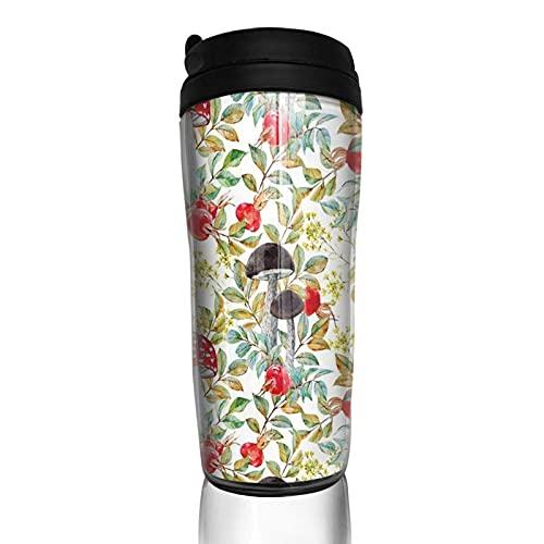 Taza de café con tapa Setas de acuarela Hojas de otoño Vaso de viaje Taza aislada al vacío Botella de agua