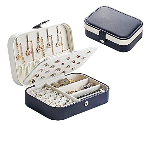 Kudiro Joyero organizador de pendientes, collar, anillo de franela, doble caja organizadora de joyas, color azul