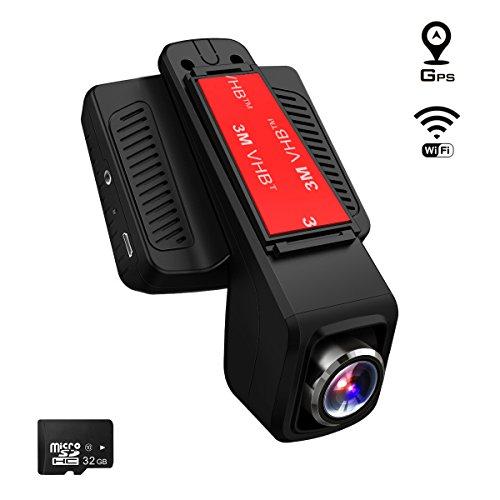 TOGUARD Cámara de Coche GPS WiFi Grande Ángulo de 170° Dash CAM Full HD 1080P, Dashcam Coche 2.45 Pulgadas IPS LCD, Grabación en Bucle,Detección de Movimiento - Una Tarjeta Micro SD 32 GB Incluidas