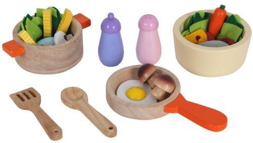 Mentari Kochtopf Set für Spielküche aus Holz Pfanne und Lebensmittel